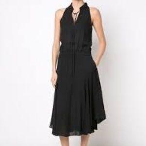 A.L.C. Lewis Black Midi Silk Sleeveless Dress
